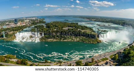Niagara Falls-panorama view from Skylon Tower platforms - stock photo