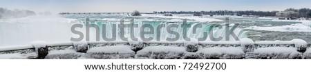 Niagara Falls panoramic early morning in winter - stock photo