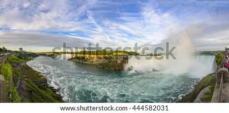 Niagara Falls Panoramic View, Canadian Falls, Canada - stock photo