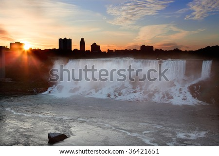 Niagara Falls USA at Sunrise - stock photo