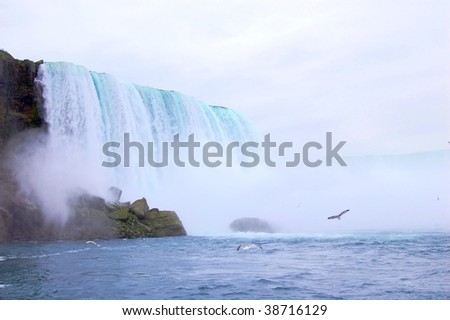 niagara falls- view from below - stock photo