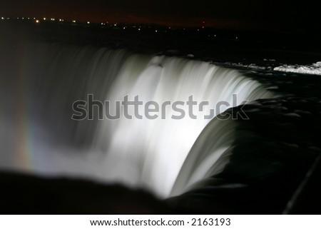 Niagara Horse Shoe Falls at Night with Rainbow - stock photo
