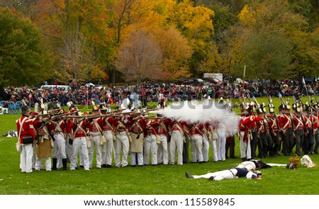 NIAGARA, ON - OCT 13, 2012: Re-enactment of the Battle of Queenston Heights as part of the Bicentennial of the War of 1812on October 13, 2012 in Niagara, ON.