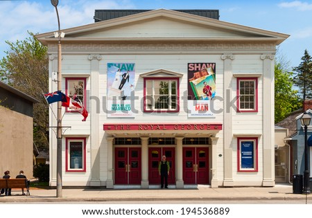 NIAGARA ON THE LAKE, ONTARIO - MAY 22, 2014: Royal George Theatre producing live on-stage plays by Bernard Shaw and contemporaries is located in town of Niagara On The Lake in southern Ontario - stock photo