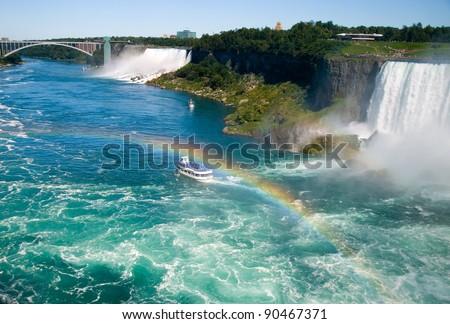 Niagara River by the Falls - stock photo