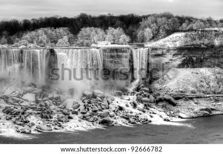 Niagara waterfalls in winter - stock photo