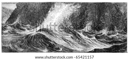 "Niagara Whirlpool rapids. Illustration originally published in Hesse-Wartegg's ""Nord Amerika"", swedish edition published in 1880. The image is currently in public domain by the virtue of age. - stock photo"