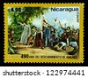 "NICARAGUA - CIRCA 1982: A stamp printed in Nicaragua shows an Arrival in America, with inscription and name of series ""490th Anniversary of Discovery of America"", circa 1982 - stock photo"