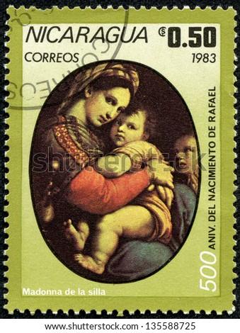 NICARAGUA - CIRCA 1983: A stamp printed in Nicaragua shows Aniv. del Nacimiento, circa 1983 - stock photo