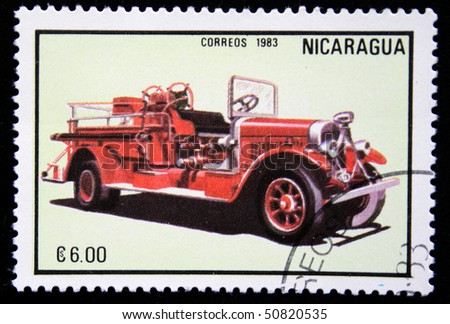 NICARAGUA - CIRCA 1983: A stamp printed in Nicaragua shows firetruck, series, circa 1983 - stock photo