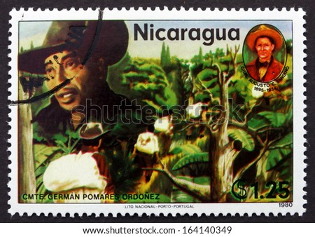 NICARAGUA - CIRCA 1980: a stamp printed in Nicaragua shows German Pomares Ordonez, Revolutionary, circa 1980 - stock photo
