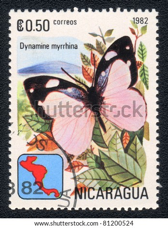 NICARAGUA - CIRCA 1982: A Stamp printed in NICARAGUA shows image of a  butterfly Dynamine myrrhina , circa 1982