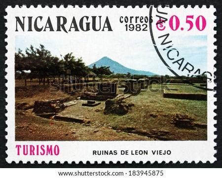 NICARAGUA - CIRCA 1982: a stamp printed in Nicaragua shows Ruins, Leon Viejo, circa 1982 - stock photo