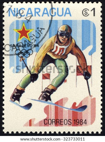 NICARAGUA - CIRCA 1984: A stamp printed in Nicaragua shows slalom, circa 1984 - stock photo