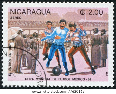 NICARAGUA - CIRCA 1985: Postage stamps printed in Nicaragua, is dedicated to FIFA World Cup, Mexico, circa 1985 - stock photo