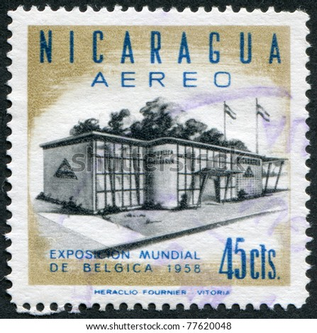 NICARAGUA - CIRCA 1958: Postage stamps printed in Nicaragua, Nicaragua shows pavilion at the World Fair in Belgium (EXPO), circa 1958 - stock photo