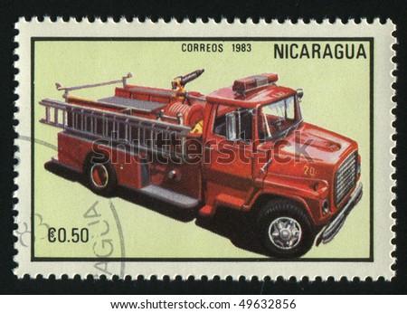 NICARAGUA - CIRCA 1983: stamp printed by Nicaragua, shows firetruck, circa 1983. - stock photo