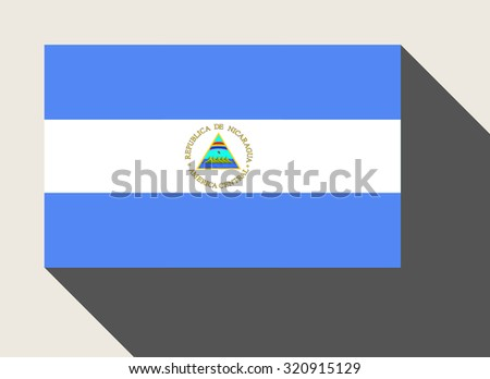 Nicaragua flag in flat web design style. - stock photo