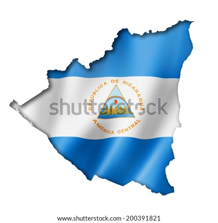 Nicaragua flag map, three dimensional render, isolated on white - stock photo