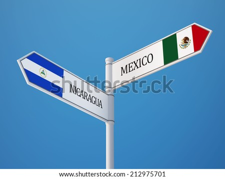 Nicaragua Mexico High Resolution Sign Flags Concept