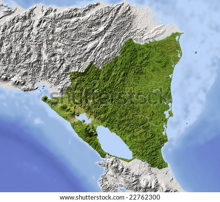 Nicaragua. Shaded relief map. Surrounding territory greyed out. Colored according to vegetation. Includes clip path for the state area. Data source: NASA