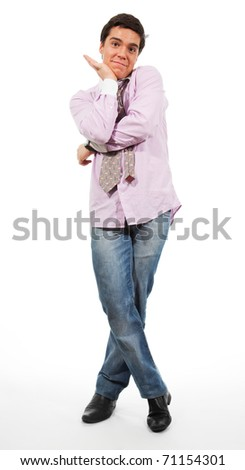 Nice, a bit embarrassed man stand  wearing jeans, shirt and tie, isolated on white