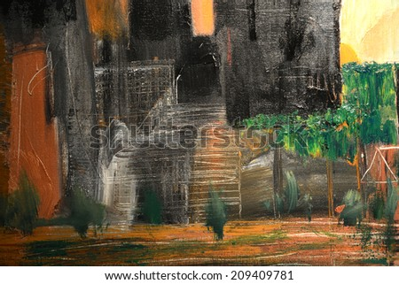 Nice Abstract painting Of Downtown Los Angeles - stock photo