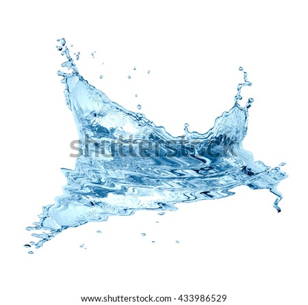 Nice abstract water splash with drops on white background - stock photo
