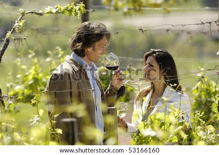 Nice adult couple in a vineyard - stock photo