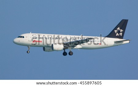 NICE AIRPORT, FRANCE - JULY 4, 2016: Swiss Airlines Airbus A320-214 (HB-IJM) in Star Alliance livery on approach to land at Nice Airport, France.