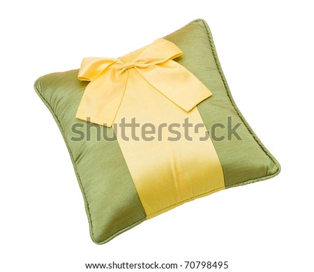 Nice and beautiful cushion decorate bow isolated on white  - stock photo
