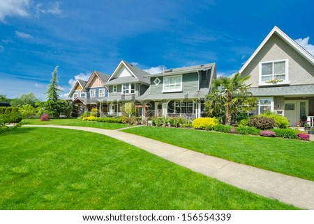 Row of single family homes stock images royalty free for Nice houses in canada