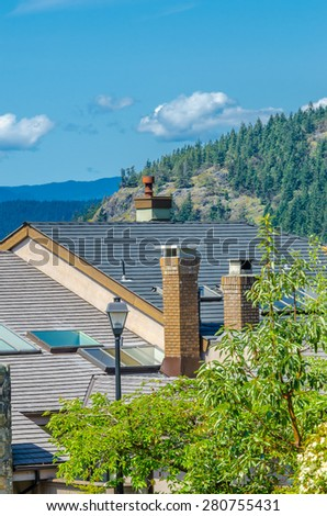 Nice and comfortable neighborhood.Roof of the house with great view at the mountains at the back in the suburbs of Vancouver, Canada. Vertical. - stock photo