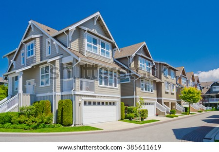 Nice and comfortable neighborhood. Townhouses in the suburbs of Vancouver. Canada. - stock photo