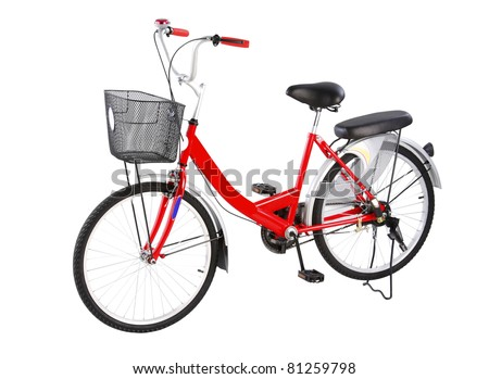 Nice and comfortable to ride the city bicycle isolated on white - stock photo