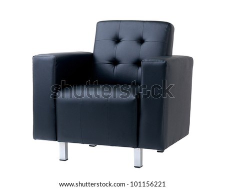Nice and comforts dark blue armchair - stock photo