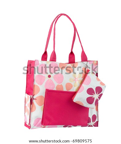 Nice and cute pink flower pattern woman handbag isolated on white - stock photo