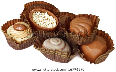 nice and delicious chocolates isolated on white - stock photo
