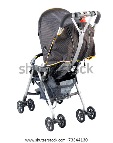 Nice and safety perambulator or carriage for young baby, the image isolated on white - stock photo