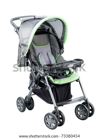 Nice and smooth stroller carriage for baby isolated on white - stock photo