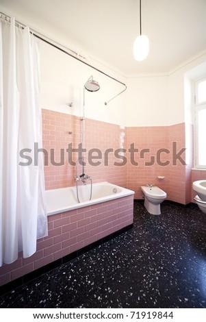 nice apartment refitted, bathroom retro - stock photo