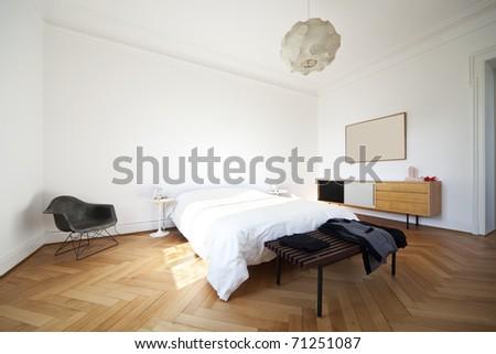 nice apartment refitted, bedroom furniture retro - stock photo