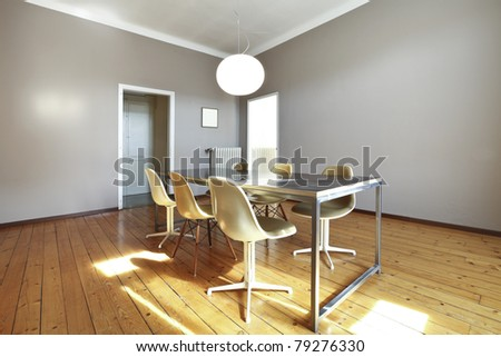 nice apartment refitted, dining room in retro style - stock photo