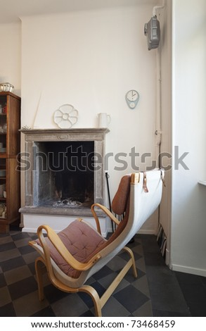 nice apartment refitted, kitchen view fireplace
