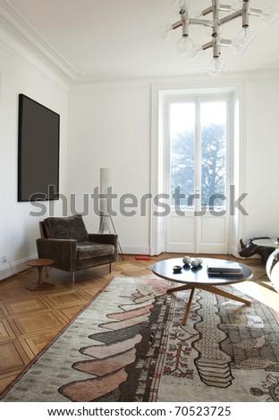 nice apartment refitted, living-room furniture retro - stock photo