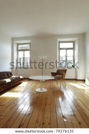 nice apartment refitted, retro style living-room - stock photo