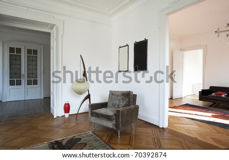 nice apartment refitted, view  living-room with furniture retro - stock photo
