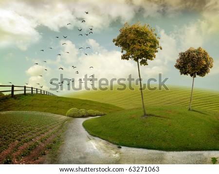 Nice autumn landscape for background - stock photo