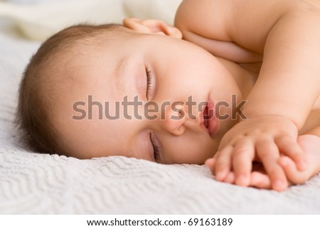 nice baby sleep on a white background