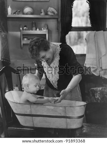 Nice bath for baby - stock photo